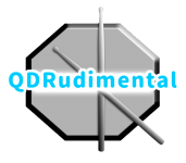 "QDRudimental Logo (which is a gray practice pad with a pair of marching drumsticks laid over it in such a way that the combined ines of the crossing of the sticks over the pad could be construed as containing the letter ""Q"" and the letter ""D"", which stands, in this case, for Quiet Drumming; and the text in a color similar to ""sky blue"" which reads, ""QD Rudimental"")"